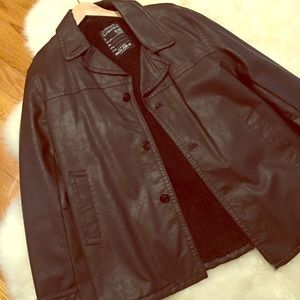 Never  worn Nautica  faux leather leather coat.